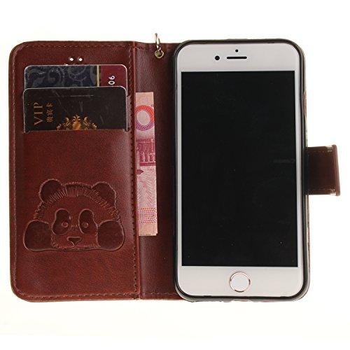 PU Cuir Coque Strass Case Etui Coque étui de portefeuille protection Coque Case Cas Cuir Swag Pour gaufrage Panda Apple iPhone 7 (4.7 pouces) +Bouchons de poussière (2CQ) 5