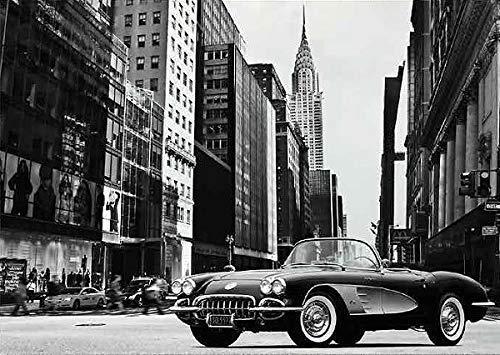 Rahmen-Kunst Keilrahmen-Bild - Gasoline Images: Roadster in NYC Leinwandbild Corvette New York Oldtimer Sportwagen Kult