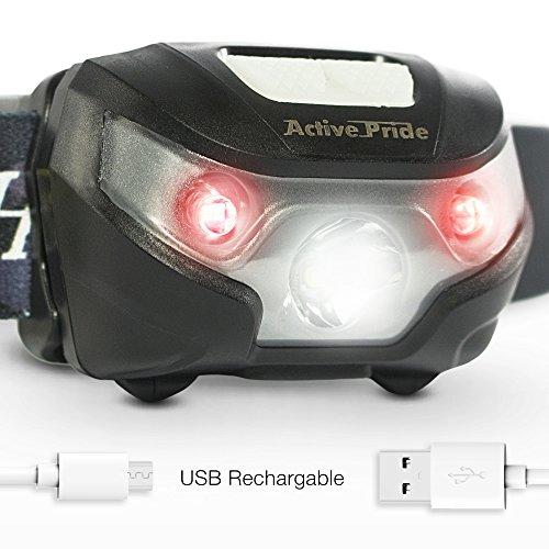Preisvergleich Produktbild LED Kopflampe - Wieder-aufladbarer USB Kopf Taschenlampe mit verstellbarem Riemen - Mini leichte Taschenlampe mit einem hellen weißen und zwei roten Lichtern - Kopflampe um mit dem Hund Gassi zu gehen, Laufen und Campen
