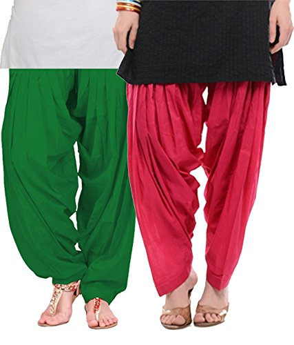 NGT Green And Rani Pink Pure Cotton Patialas For Womens