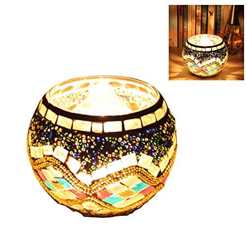 Bclp-v mosaico in vetro votiva portacandele con led tealight a candela led (incluso), glod