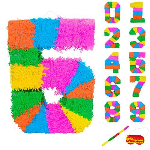 Fax Potato Number 5 Pinata Set mit Stick & Blindfold - 50 x 7,5 x 35 cm - Rainbow