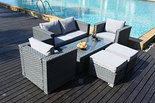 yakoe 50124 2017 monaco 6 seater rattan garden furniture - Rattan Garden Furniture 6 Seater