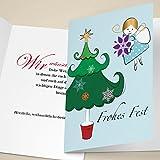 100er Set Nette Business Weihnachtskarten mit Engel beim Weihnachtsbaum schmücken, mit ihrem Innentext (Var3) drucken lassen, als Weihnachtsgrüße: Frohes Fest