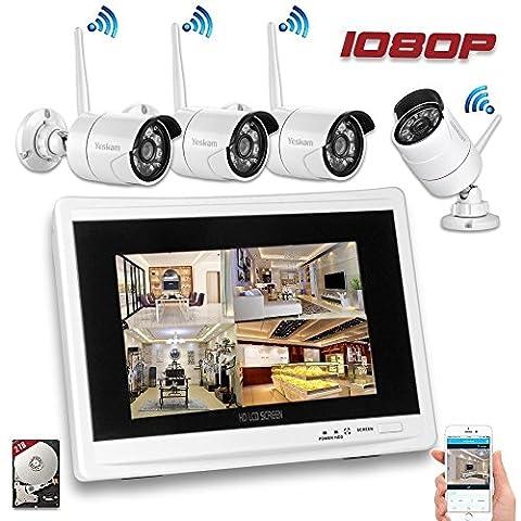 YESKAMO Überwachungskamera Set Außen Kabellos mit 4 x 1080P Wlan