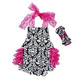 Knowin Babykleidung Mädchen Sommer 2019 Baby Blumendruck Laterne Riemen Overall + Haarband Zweiteiliger Anzug für Kinder Neugeborenes Säugling Baby Mädchen Strampler Jumpsuit Bodysuit Outfits