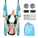 INTEY Yoga Hängematte Muti Yoga Swing Aerial Anti-Gravity-Schwingen Fitness Yoga-SchaukelHängetuch mit Zubehör, Blau