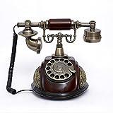 K-DD Vintage-Telefon/Retro-Telefon Mit Holz- Und Metallgehäuse, Funktionalem Drehknopf Und Klassischer Metallglocke