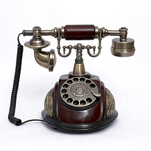 K-dd telefono vintage/telefono retro con corpo in legno e metallo, quadrante rotante funzionale e campana classica in metallo