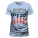 CID Herren T-Shirt LED Zeppelin-US 75, Blau (Blue), Large (Herstellergröße: L)