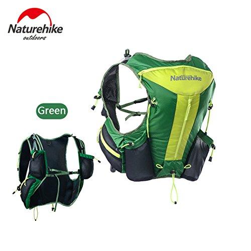 Naturhike leichte Damen Herren Marathon Rucksack Wandern Taktische Packs Laufende Tasche Running Bag 12L Green+1.5L water bag