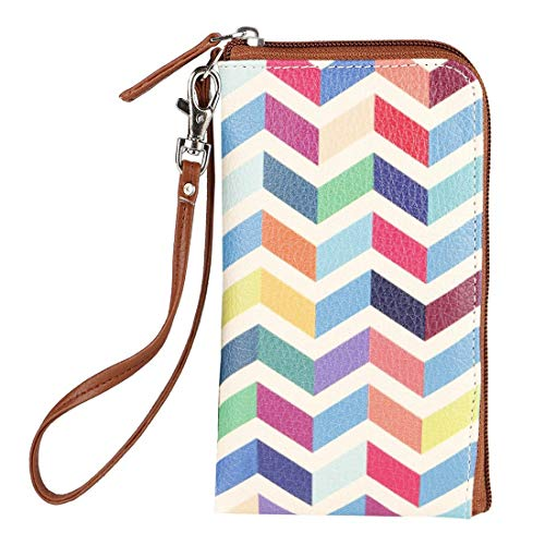 Thathing Chevron Multicolor Mobile Phone Pouch Wristlet with Card Slots