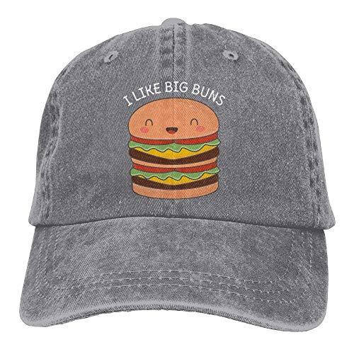 en einstellbar Denim Stoff Baseball Caps Kawaii Big Burger Wortspiel Papa Hut Unisex37 ()