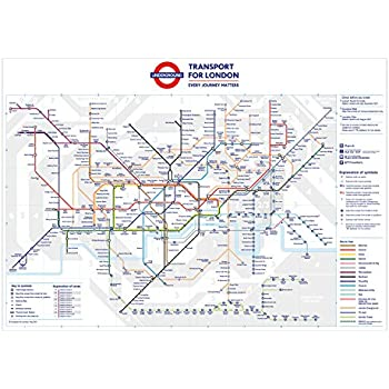 A2 London Underground Tube Station Map Poster Wall Art 594x420mm