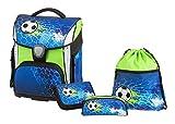 Schneiders Vienna Schulranzen Set Plus, Soccer Champ, 4 teilig, inklusive Federmappe, Sportbeutel und Schlampermappe, 40 cm, Blau