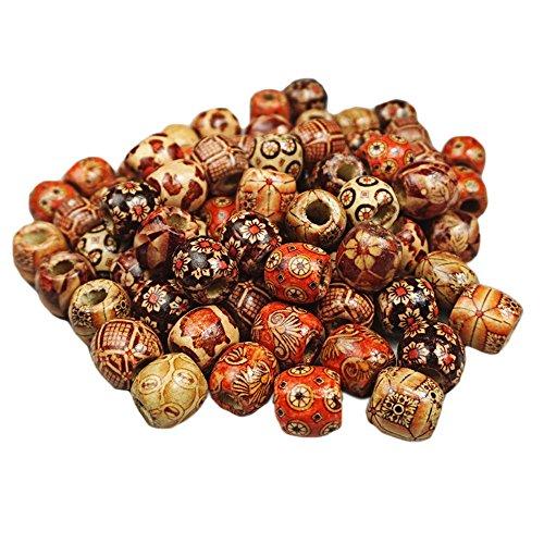 50pcs 17mm großes Loch handbemalte Holz Perlen für die DIY Armband Halskette Schmuck Haar Makramee Craft Project zufällige Stil 17mm