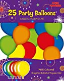 25 Multi Coloured Party Balloons (helium or air fill Euro )