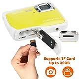 DIDseth Digitalkamera   Minikamera mit 12MP HD 5 MP CMOS Sensor, Kinderkamera HD 720p Videofunktion - Wasserdicht bis 3 Meter Gelb … - 6