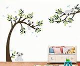 ufengke Großer Baum Cartoon Tiere Koala Wandsticker, Babyzimmer Kinderzimmer Entfernbare Wandtattoos Wandbilder