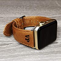 Apple Watch iwatch Strap Vintage genuine leather Apple Watch Band 38mm 40mm 42mm 44mm Mens Boyfriend Husband Gift Series 4 3 2 1 Christmas Personalised Wife Girlfriend Gift Engraved Yellow Brown