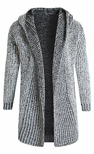 SUProcer Herren Schal Collared Open Knited Pullover Knopfleiste Long Line Cardigan (Cable Pullover Marine Knit)