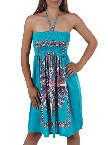 H112 Damen Sommer Aztec Bandeau Bunt Tuch Kleid Tuchkleid Strandkleid Neckholder, Farben:F-029 Grün;Größen:Einheitsgröße