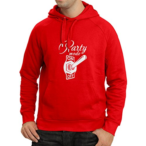 N4173H Hoodie Party mode ON gift Rosso Bianco