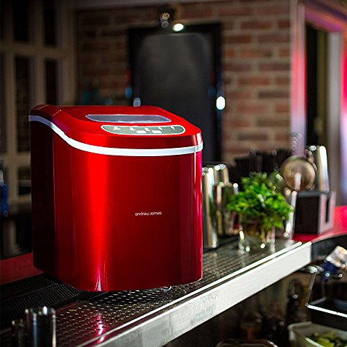 Andrew James Compact Counter Top Ice Maker Machine Makes 15kg Ice Per Day (Red)
