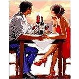 CHUDU Pintura por Números para Niños Cepillo De Los Amantes Románticos Kits Colección Clásico Arte Moderno Compartir Interacción Fin De Semana Relajarse 40x50 cm