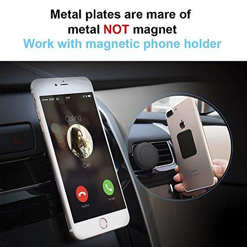 Piastrine Metalliche per Supporto Auto Magnetico Porta Cellulare Auto Supporto Magnetico CD Slot Bocchetta dellAria ECC UGREEN Placche Metallo 2 Rettangolari e 2 Tonde con Adesivo 3M