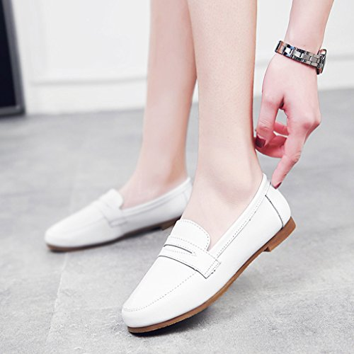 HWF Chaussures femme Printemps Shallow Mouth Chaussures simples style britannique à fond plat paresseux Chaussures Femmes Chaussures en cuir ( Couleur : C , taille : 40 ) A