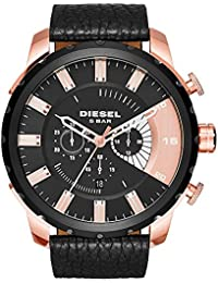 Diesel Stronghold Men's Quartz Watch with Multicolour Dial Analogue Display and Black Leather Bracelet Dz4347