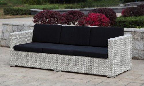 Multi Sofa Gartensofa mit Kissen Poly-Rattan, white wash - 3