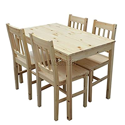 FoxHunter Quality Solid Wooden Dining Table and 4 Chairs Set Kitchen Furniture FH-DS02 Natural Pine