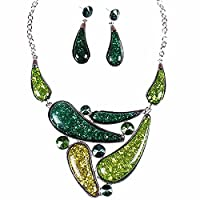 Green Amber Drop Bib Charm Pendant Chain Necklace Stud Earrings Set