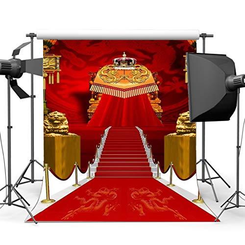 JoneAJ Luxuriöser Bühnenhintergrund 10X10FT Vinyl-roter Teppich-Kulissen-chinesischer traditioneller Art-Drachen-Hochzeits-Fotografie-Hintergrund Mädchen Hochzeitszeremonie-Fotoapparat-Requisiten