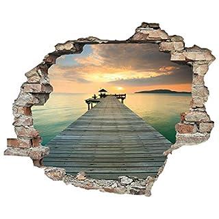 3D-Effekt Wandtattoo 'Steg' | Aufkleber | Durchbruch | selbstklebendes Wandbild | Wandsticker | Stein | Wanddurchbruch | Wandaufkleber | Tattoo, Größe:60x50 cm
