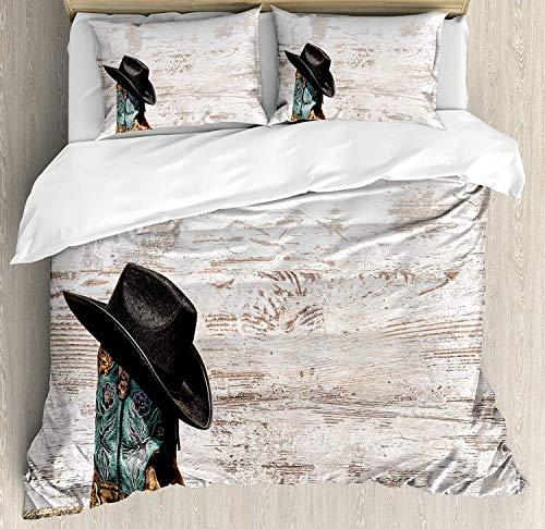 Western-Bettbezug-Set Queen Size, traditionelle Rodeo-Cowboy-Hut und Cowgirl-Stiefel in einem Retro Grunge Hintergrund Kunst Foto, dekorative 3 Stück Bettwäsche Set mit 2 Kissen Shams, braun schwarz