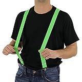 Foxxeo 35032 | 80er Jahre Hosenträger neon grün grüne Kostüm Fasching Hosen Träger