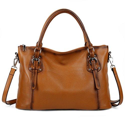 Imagen de yaluxe mujer estilo clasico cuero genuino suave  pequeña saco de mano grande bolsa de hombro marrón