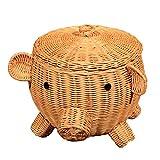 Starter cestino di stoccaggio, a forma di animale ornamenti in rattan Home cesto in scatola con coperchio, bagno sporco vestiti cestino, fatto a mano