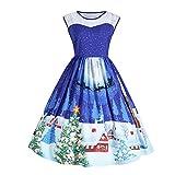 Vêtements LILICAT Les femmes de noël impriment dentelle Pin Up Swing Lace Party Panel Plus robe de taille (Blue-ONE, XL)