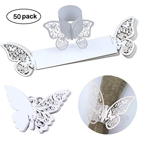 Heavenlife 50pack farfalla di anelli portatovagliolo carta di bicchiere di vino cartellini segnaposto per matrimonio tazza, nozze compleanno natale festa tabella decorazioni (bianco)