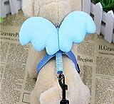 LA VIE Hundegeschirr Einstellbar Süße Flügel Abnehmbare Weiche Bequeme Geschirr mit Einfach Sicher Kontrolle Hundeleine für Kleiner und Mittlerer Hunde Welpen Haustier S Blau