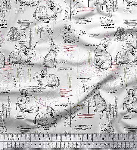 Soimoi Weiß Baumwolljersey Stoff abstrakt & Kaninchen Tier Stoff Meterware 58 Zoll breit