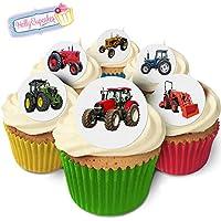 12 Rot Tractor Essbar Cupcake Dekoration Reispapier Kuchendekoration 40mm