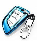 YUWATON KFZ Schlüssel Cver KFZ Schlüssel Fall Auto Fernbedienung, für Mercedes-Benz A B C E Class GLA GLC GLE Schlüsselanhänger Key Cover Schutz Schlüssel Button Blau