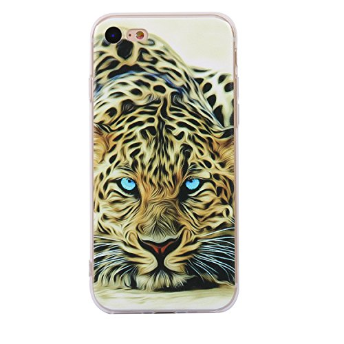 iphone 7 Handyhülle,iphone 7 Silikon Hülle,Cozy Hut 3D Handyhülle Muster Case Cover Für iphone 7 Liquid Crystal Ultra Dünn Crystal Clear Transparent Handyhülle Soft Cover Premium Anti-Scratch TPU Durc Leopardtiger