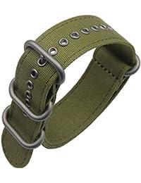 correas de reloj de una sola pieza estilo de la NATO exótica lienzo 20mm ejército verde de lujo de los hombres exquisitos correas textiles