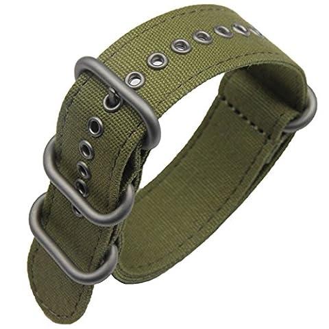 22mm armée verte prime de luxe de style NATO robuste bracelet exotique de bande de montre-bracelet hommes sport en toile douce